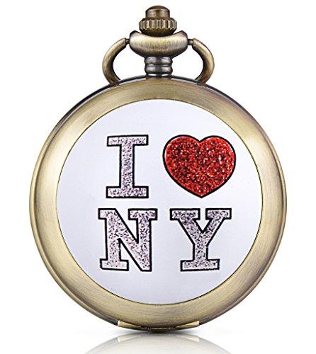 Unendlich U Ich Liebe New York Foto Medaillon Handaufzug Mechanische Taschenuhr Weisses Zifferblatt Skelettuhr Pullover Halskette beide Ketten