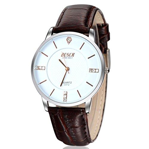 Unendlich U Klassisch Business Weiss Zifferblatt PU Leder Armband Wasserdicht Analog Quarz Uhr