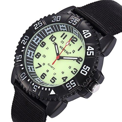 Unendlich U Fashion Unisex Quarzarmbanduhr Schwarz Nylon Armband Wasserdicht Armbanduhr mit Leuchtzifferblatt fuer Reise Wandern Klettern Camping