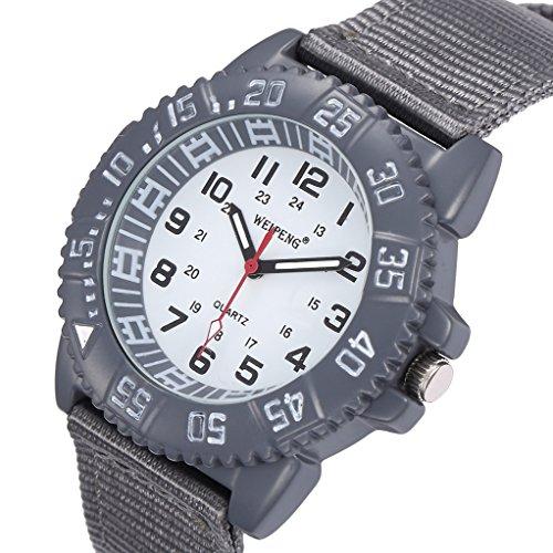Unendlich U Fashion Grau Nylon Gurt Quarzarmbanduhr Unisex Wasserdicht Armbanduhr fuer Reise Geburtstag Weihnachten Geschenk