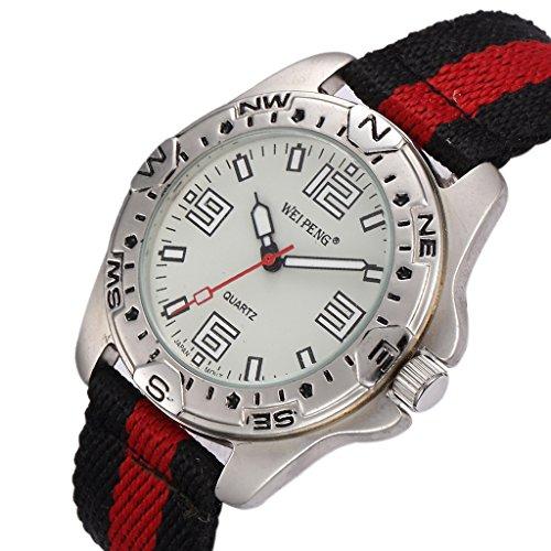 Unendlich U Fashion Schwarz Rot Nylon Gurt Quarzarmbanduhr Unisex Wasserdicht Armbanduhr fuer Reise Geburtstag Weihnachten Geschenk