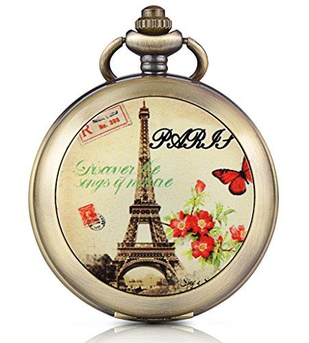 Unendlich U Romantisch Paris Eiffelturm Foto Medaillon Handaufzug Mechanische Taschenuhr Schwarzes Zifferblatt Skelettuhr Pullover Halskette beide Ketten