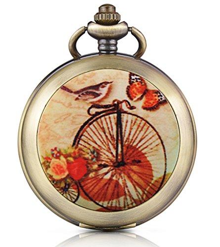 Unendlich U Retro Fahrrad Schmetterling Vogel Foto Medaillon Handaufzug Mechanische Taschenuhr Schwarzes Zifferblatt Skelettuhr Pullover Halskette beide Ketten