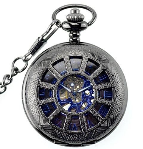 Unendlich U Fashion Steampunk Retro Handaufzug Mechanische Taschenuhr Hohle Skelett Kettenuhr Pullover Halskette Schwarz Blau
