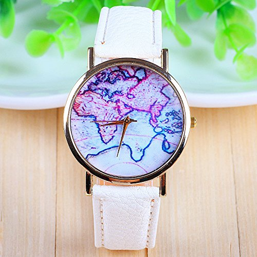 3 Farben New Arrival Weltkarte Lederband Uhren weiss