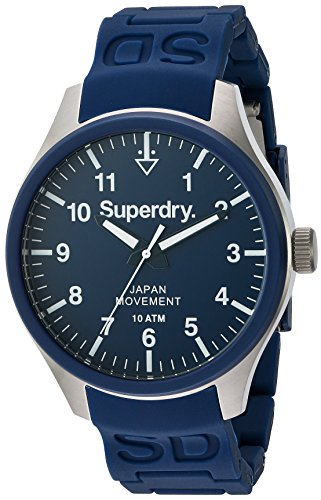 Superdry SYG109UG SCUBA Uhr Herrenuhr Kautschuk Edelstahl 100m Analog blau
