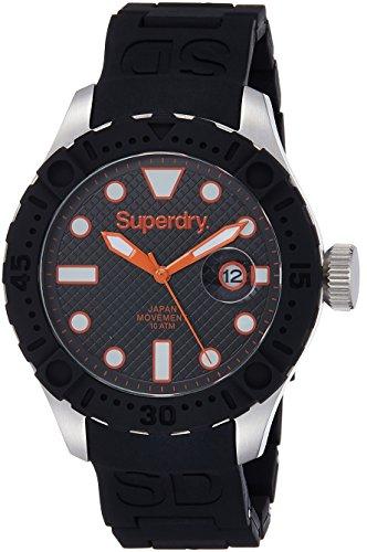 Superdry SYG140B DEEP SEA SCUBA Uhr Kautschuk Edelstahl 100m Analog Datum schwarz