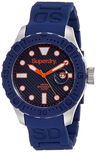 Superdry SYG140U DEEP SEA SCUBA Uhr Kautschuk Edelstahl 100m Analog Datum blau