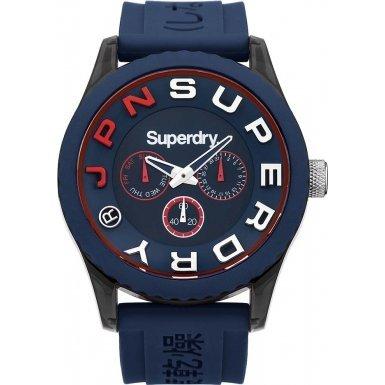 Superdry SYG170U TOKYO MULTI Uhr Kautschuk Kunststoff 50m Analog Datum blau