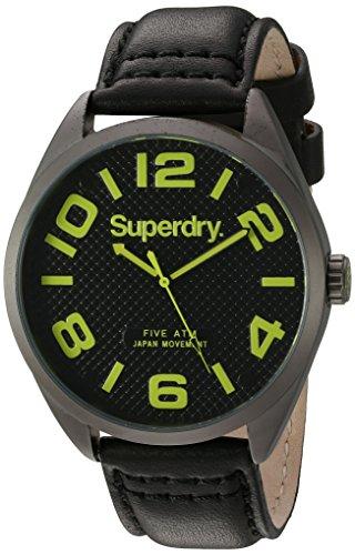 Superdry SYG192BYA MILITARY Uhr Lederarmband Metall 50m Analog schwarz