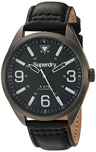 Superdry SYG199BB MILITARY Uhr Lederarmband Metall 5 bar Analog schwarz