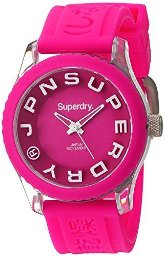 Superdry SYL146P TOKYO Uhr Kautschuk Kunststoff 50m Analog pink