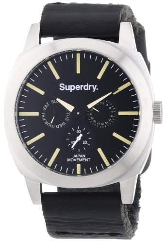 Superdry Herren-Armbanduhr XL Analog Quarz Leder SYG104B