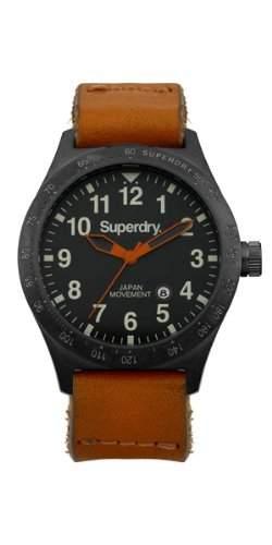 Superdry Herren-Armbanduhr XL Analog Quarz Leder SYG105TB