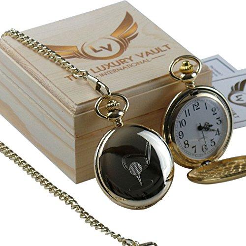 Gratis Gravur Name Golf Gold Taschenuhr und Kette Club Tee in Luxus Holzbox Gravur
