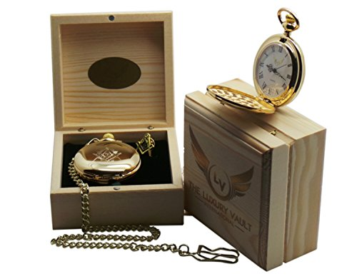 The Luxury Vault Luxus Freimaurer Geschenk Set Gold Freimaurer Taschenuhr und Krawatten Clip mit Holzbox