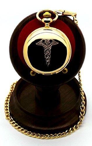 Medizinische Taschenuhr versilbert mit handgefertigtem Luxus Holz Staender Arzt Krankenschwester Zahnarzt Geschenk Set