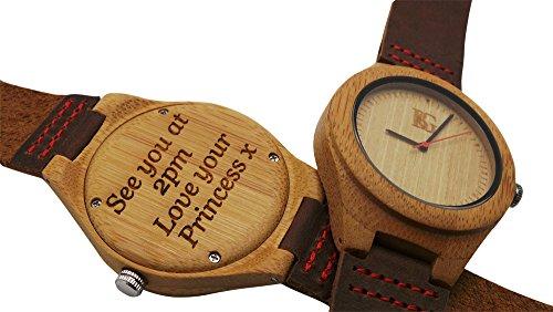 personalisierbar Holz Armbanduhr Armbanduhr reengraved AL Leder Luxus Box Monogramm Custom Gravur Vater der Braut Dad Mann Groom Geheimnis versteckte Botschaft