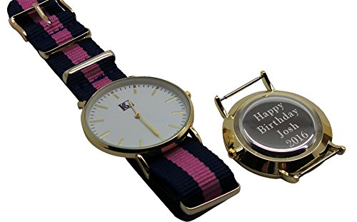 Gravur personalisierbar Armbanduhr Armbanduhr Streifen 24 K vergoldet Luxus Box Monogramm Custom Gravur
