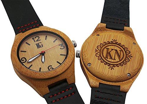 Personalisierter Gravur Holz Armbanduhr Armbanduhr echt Leder Luxus Box Monogramm Custom Gravur Vater der Braut Dad Mann Groom