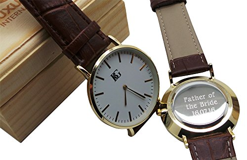 Personalisierter Gravur Armbanduhr echt Leder Armbanduhr 24 K Vergoldet Luxus Box Monogramm Custom Gravur Vater der Braut