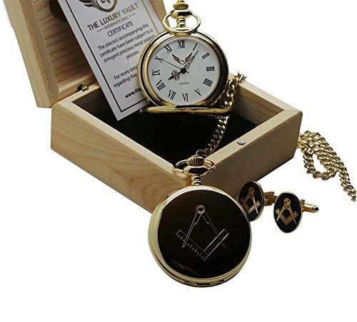 Full Hunter Taschenuhr und Manschettenknoepfe Geschenkset Freimaurer Motiv goldfarben in Holzbox