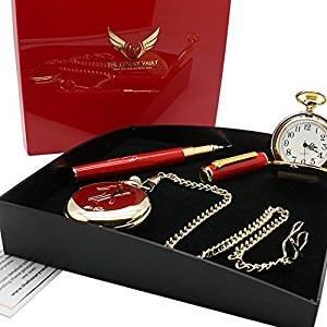 Taschenuhr vergoldet mit Elvis Presley Autogramm und Kugelschreiber mit Praesentationsschachtel