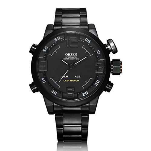 Museya wasserdicht Herren jungen LED Dual Time Sport Uhr schwarz schwarz