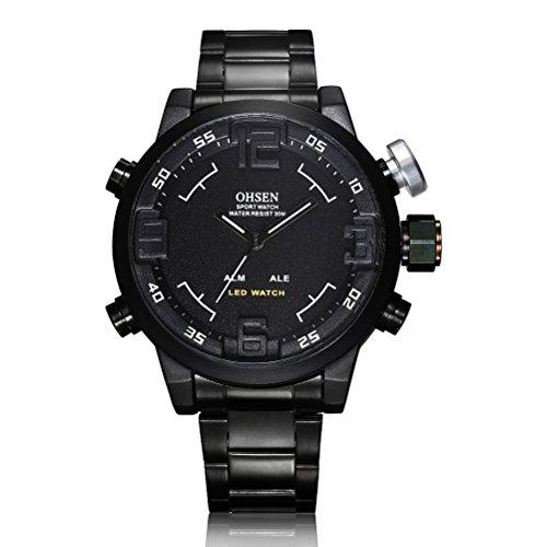 Museya wasserdicht Herren jungen LED Dual Time Sport Uhr schwarz weiss