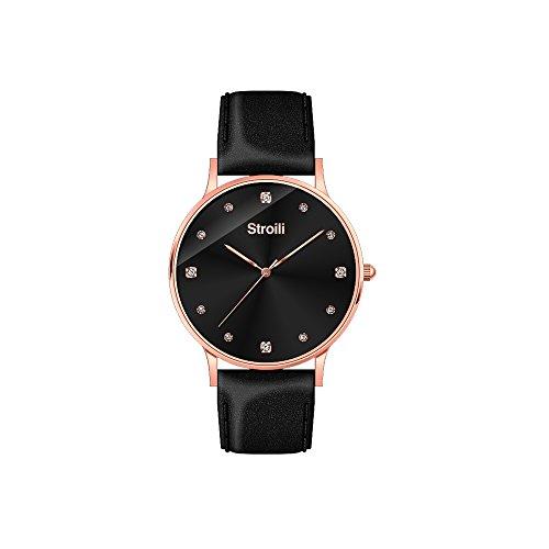 sroili Uhr nur Zeit Gehaeuse und Armband in Leder und Stahl Zifferblatt schwarz