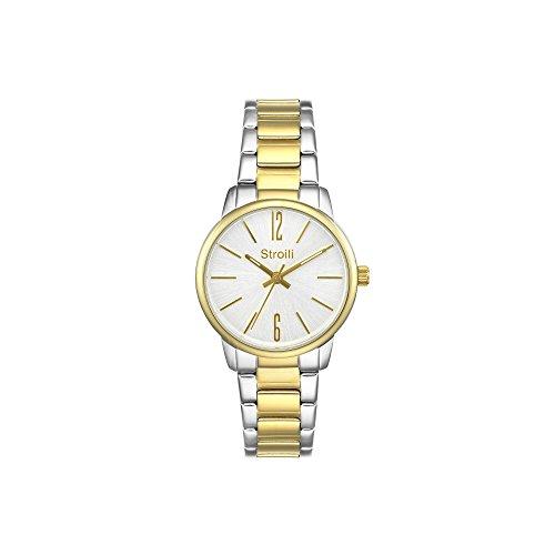 Stroili Uhr Modell Nur Zeit Gehaeuse und Armband in Stahl Zifferblatt Silver Gold