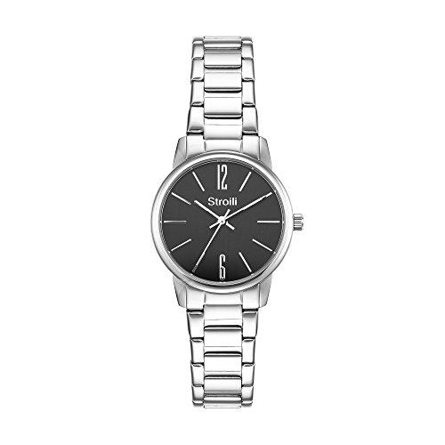 Stroili Uhr Modell Nur Zeit Gehaeuse und Armband in Stahl Zifferblatt schwarz