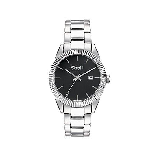 STROILI Uhr Uhr Herren nur Zeit Gehaeuse und Armband in Stahl Zifferblatt schwarz