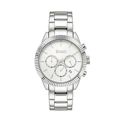 STROILI Uhr Chronograph Gehaeuse und Armband in Stahl Zifferblatt Silver