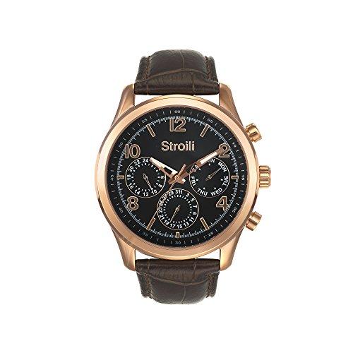 STROILI Uhr Uhr Herren Typ Crono Multifunktion Gehaeuse aus Edelstahl und Lederband Zifferblatt Blau