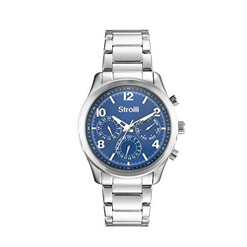 STROILI Uhr Uhr Herren Typ Crono Multifunktion Gehaeuse und Armband in Stahl Zifferblatt Blau