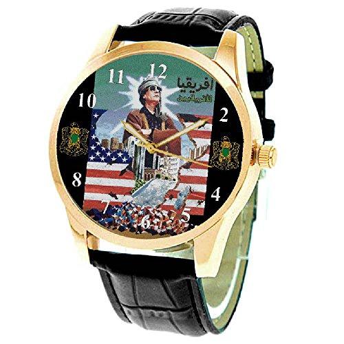 Daunen mit Amerika Vintage Oberst Gaddafi qaddafi Islamische Libysch gruen Propoganda Art Collectible 40 mm Armbanduhr