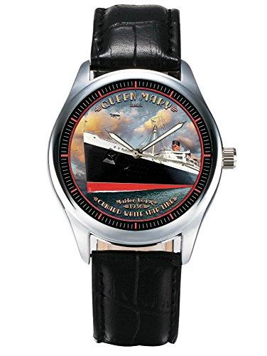 Die Cunard Queen Mary Ocean Liner Vintage Art GEDENKMUENZE Unisex 40 mm Armbanduhr