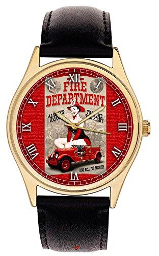 Fantastische Rot Gold Vintage Feuerwehr Pinup Poster Art Feuerwehrmann s Collectible Armbanduhr