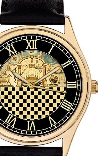 Freimaurer Freimaurerei 44 mm Gross Vintage kariert Tempel of Solomon Kunst 24 K vergoldet Armbanduhr