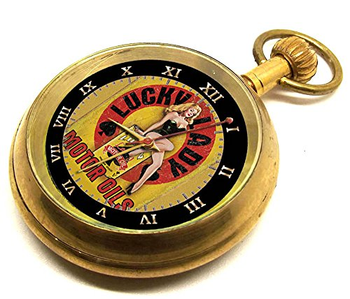 Lucky Lady Motor OEl Werbe Benzin Art Americana Collectible Taschenuhr