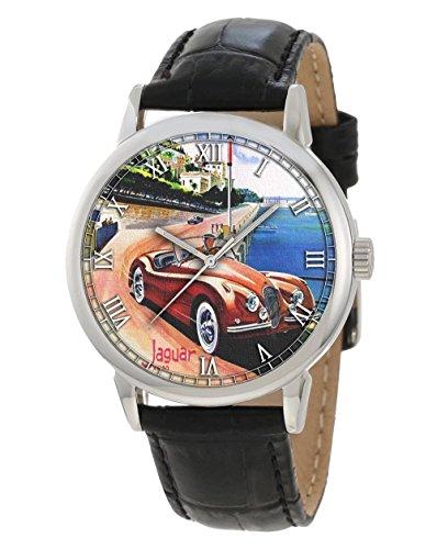 Monaco Monte Carlo Vintage 50s Car Racing Jaguar Art Collectible Armbanduhr