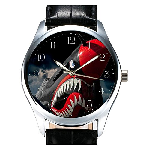 Wicked RAF Spitfire grinsende Shark Zaehne GEDENKMUENZE ww ii Collectible Fighter Aviation Art Armbanduhr Schwarz und Rot
