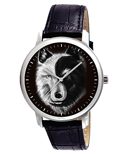 Symbolische Yin Yang Dark Side Of The Stecker Psyche Wolf Art Armbanduhr