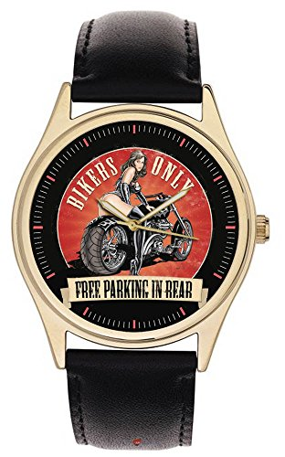 Vintage Art Chopper Motorrad Biker Babe Free Parking In hinten Collectible Armbanduhr