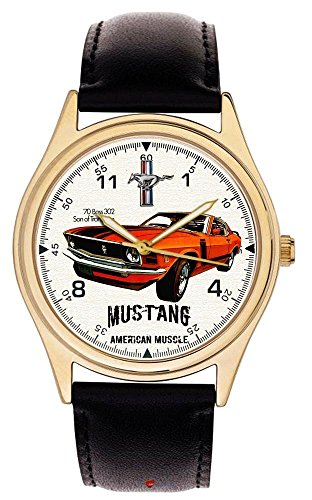 Vintage 70er Ford Mustang 302 Collectible Grosse 40 mm Armbanduhr