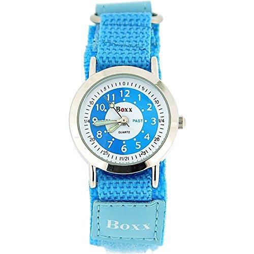 BOXX Lernuhr fuer Maedchen mit blauem und weissem Ziffernblatt PU Armband mit Klettverschluss