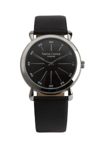 Simon Carter Herren Armbanduhr WT1903 Black Analog Leder Schwarz WT1903 Black