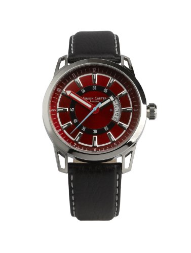 Simon Carter Herren Armbanduhr Analog Leder schwarz WT1906 Red