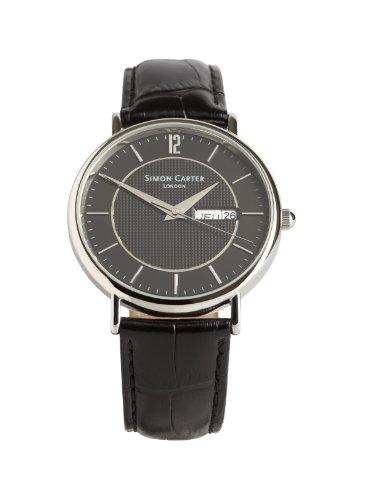 Simon Carter Herren Armbanduhr WT1909 Black Analog Leder Schwarz WT1909 Black